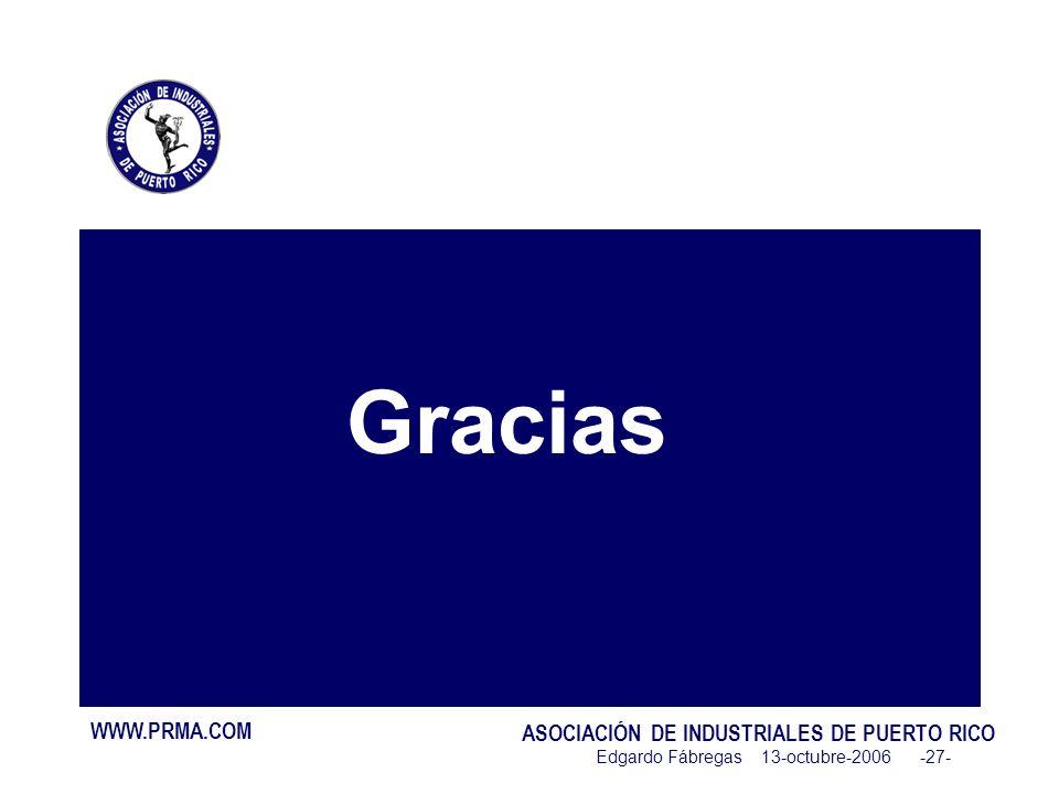 WWW.PRMA.COM ASOCIACIÓN DE INDUSTRIALES DE PUERTO RICO Edgardo Fábregas 13-octubre-2006 -27- Gracias
