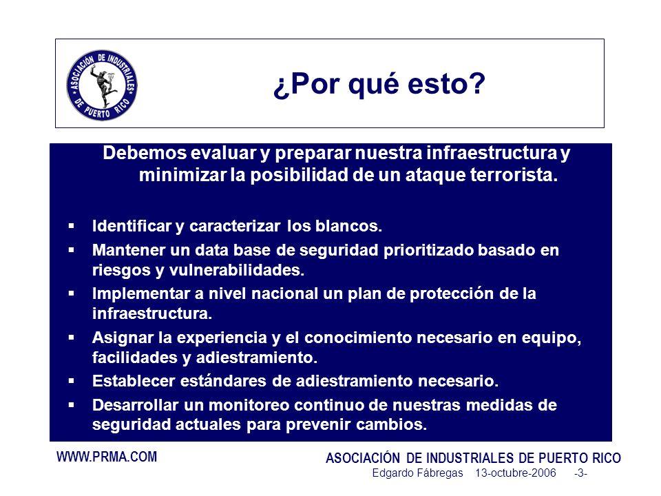 WWW.PRMA.COM ASOCIACIÓN DE INDUSTRIALES DE PUERTO RICO Edgardo Fábregas 13-octubre-2006 -3- ¿Por qué esto.