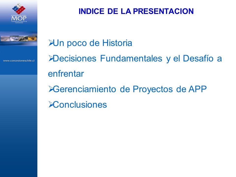 INDICE DE LA PRESENTACION Un poco de Historia Decisiones Fundamentales y el Desafío a enfrentar Gerenciamiento de Proyectos de APP Conclusiones