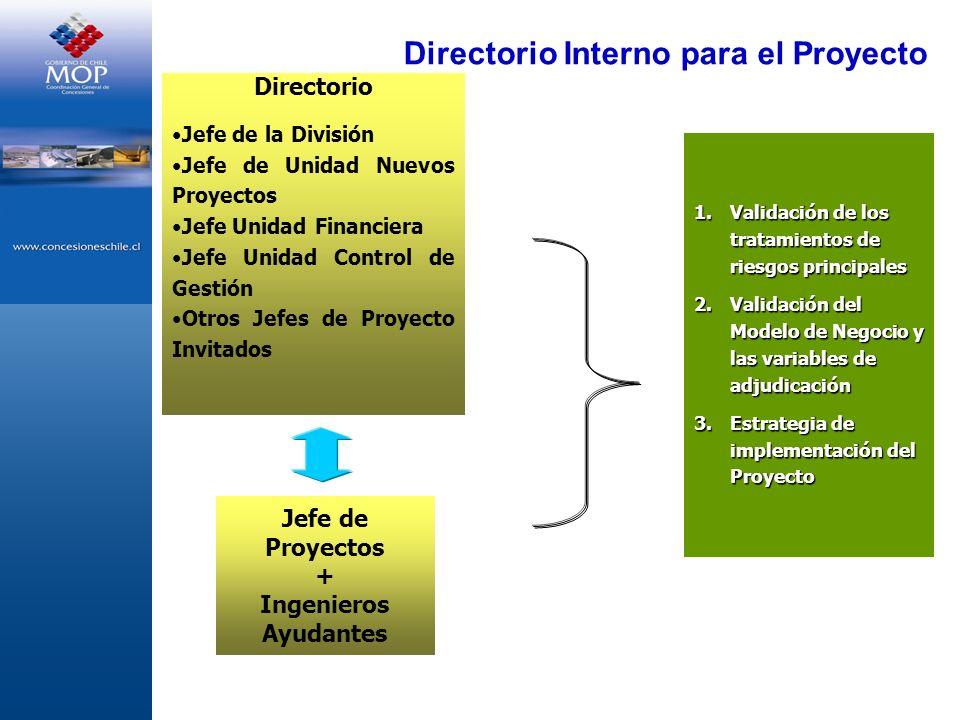 Directorio Interno para el Proyecto Directorio Jefe de la División Jefe de Unidad Nuevos Proyectos Jefe Unidad Financiera Jefe Unidad Control de Gesti