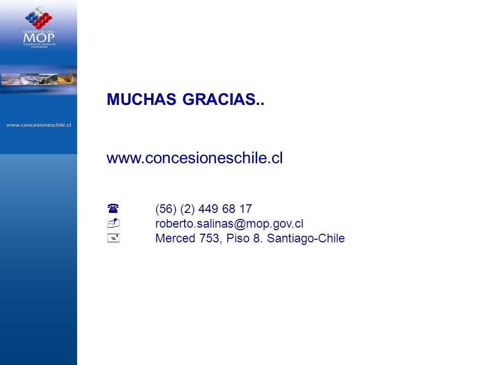 MUCHAS GRACIAS.. www.concesioneschile.cl (56) (2) 449 68 17 roberto.salinas@mop.gov.cl Merced 753, Piso 8. Santiago-Chile
