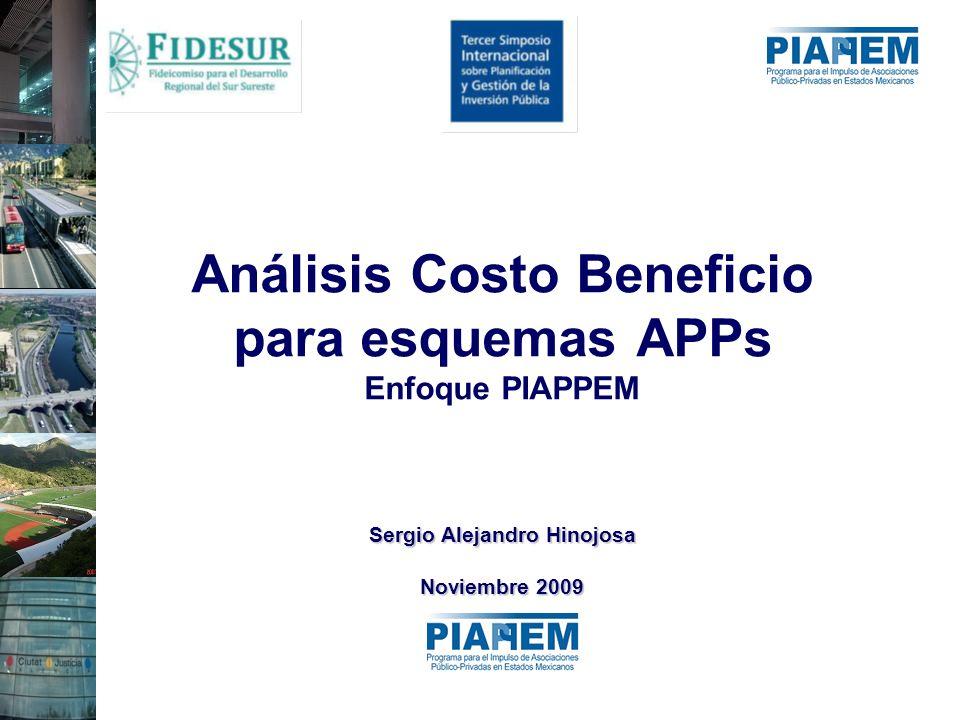 Sergio Alejandro Hinojosa Noviembre 2009 Análisis Costo Beneficio para esquemas APPs Enfoque PIAPPEM Sergio Alejandro Hinojosa Noviembre 2009