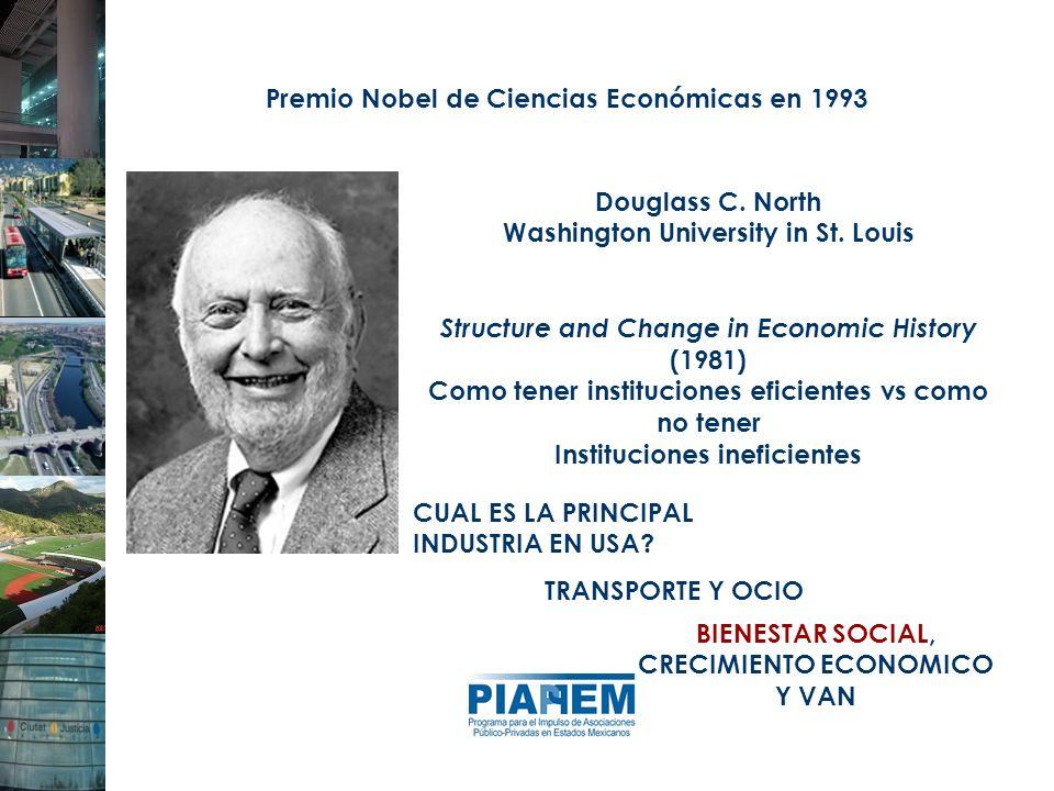 Premio Nobel de Ciencias Económicas en 1993 Douglass C. North Washington University in St. Louis Structure and Change in Economic History (1981) Como