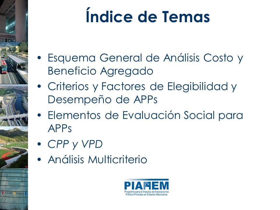 Esquema General de Análisis Costo y Beneficio Agregado Criterios y Factores de Elegibilidad y Desempeño de APPs Elementos de Evaluación Social para AP