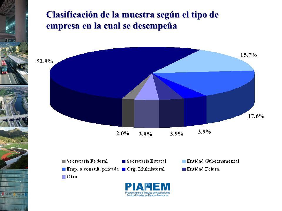 Clasificación de la muestra según el tipo de empresa en la cual se desempeña