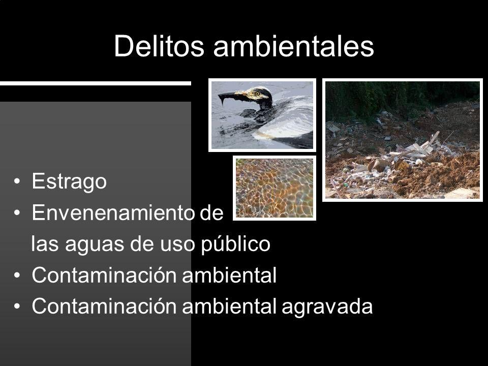 Estrago Envenenamiento de las aguas de uso público Contaminación ambiental Contaminación ambiental agravada Delitos ambientales