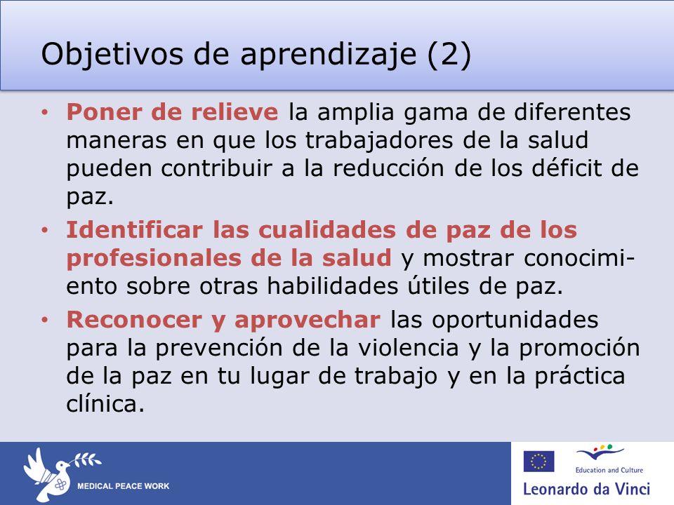 Objetivos de aprendizaje (2) Poner de relieve la amplia gama de diferentes maneras en que los trabajadores de la salud pueden contribuir a la reducció