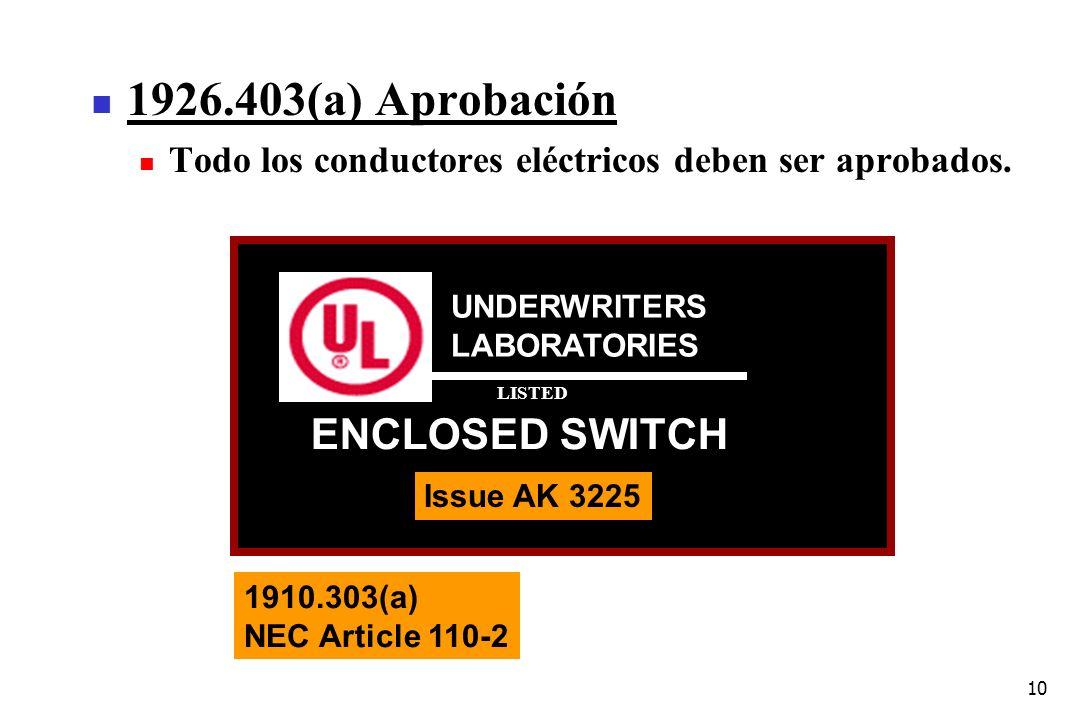 10 1926.403(a) Aprobación Todo los conductores eléctricos deben ser aprobados. UNDERWRITERS LABORATORIES ENCLOSED SWITCH Issue AK 3225 LISTED 1910.303