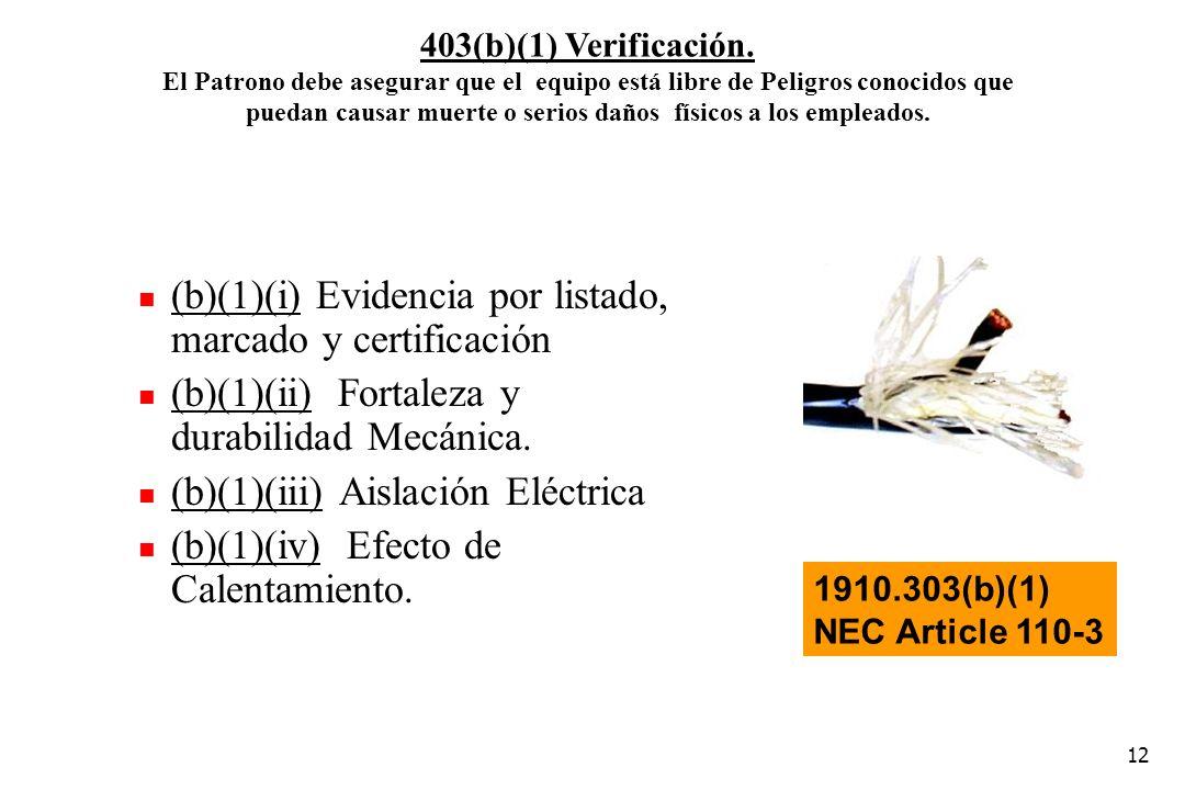12 (b)(1)(i) Evidencia por listado, marcado y certificación (b)(1)(ii) Fortaleza y durabilidad Mecánica. (b)(1)(iii) Aislación Eléctrica (b)(1)(iv) Ef