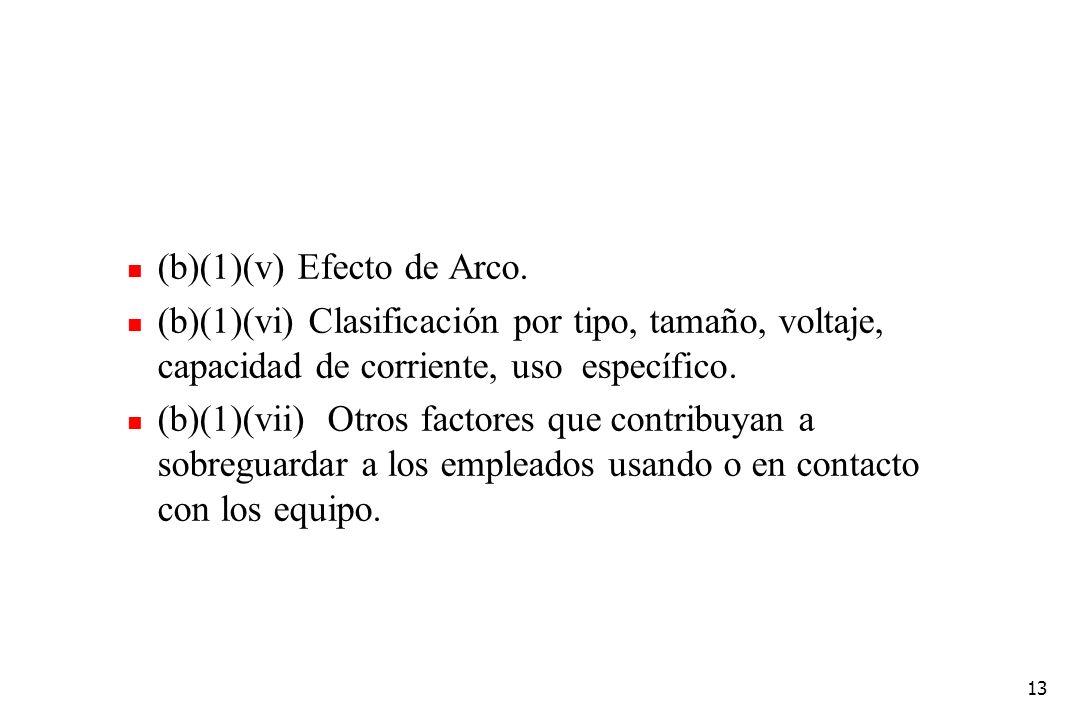 13 (b)(1)(v) Efecto de Arco. (b)(1)(vi) Clasificación por tipo, tamaño, voltaje, capacidad de corriente, uso específico. (b)(1)(vii) Otros factores qu