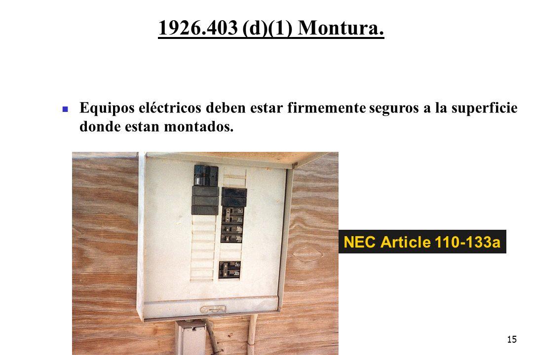 15 1926.403 (d)(1) Montura. NEC Article 110-133a Equipos eléctricos deben estar firmemente seguros a la superficie donde estan montados.