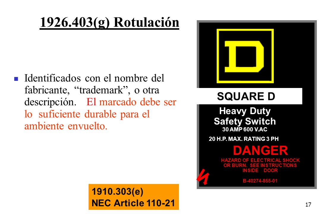 17 1926.403(g) Rotulación SQUARE D Heavy Duty Safety Switch 30 AMP 600 V.AC 20 H.P. MAX. RATING 3 PH DANGER HAZARD OF ELECTRICAL SHOCK OR BURN. SEE IN