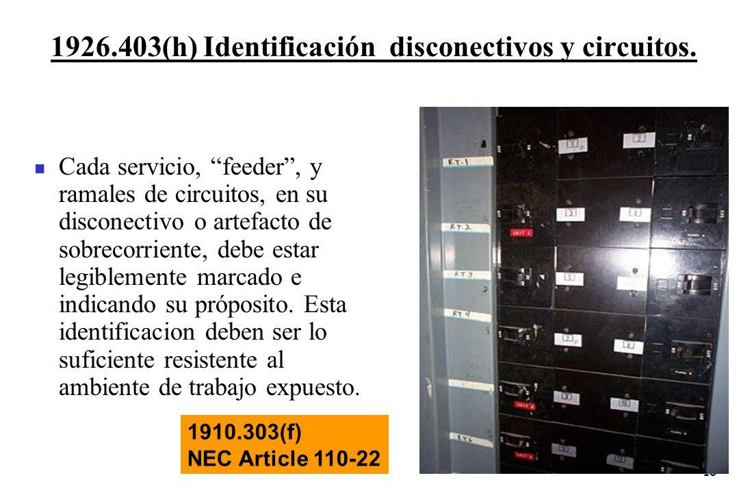 18 1926.403(h) Identificación disconectivos y circuitos. 1910.303(f) NEC Article 110-22 Cada servicio, feeder, y ramales de circuitos, en su disconect