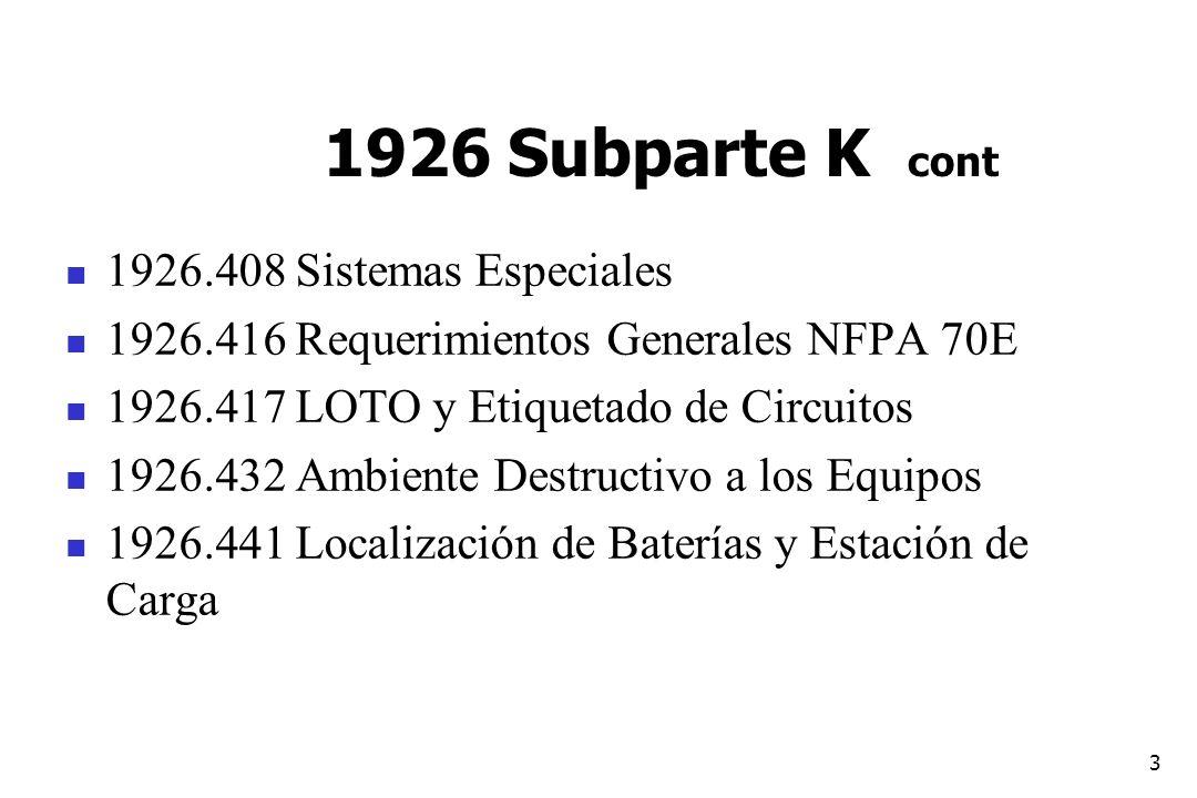 3 1926 Subparte K cont 1926.408 Sistemas Especiales 1926.416 Requerimientos Generales NFPA 70E 1926.417 LOTO y Etiquetado de Circuitos 1926.432 Ambien