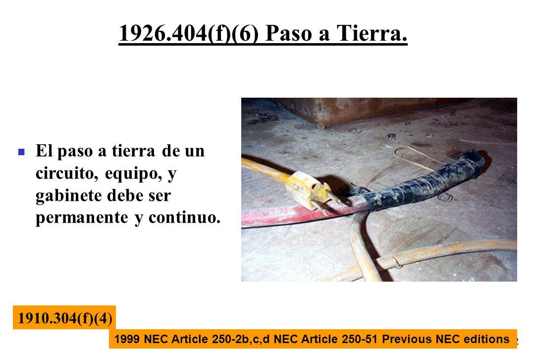 32 1926.404(f)(6) Paso a Tierra. 1910.304(f)(4) 1999 NEC Article 250-2b,c,d NEC Article 250-51 Previous NEC editions El paso a tierra de un circuito,