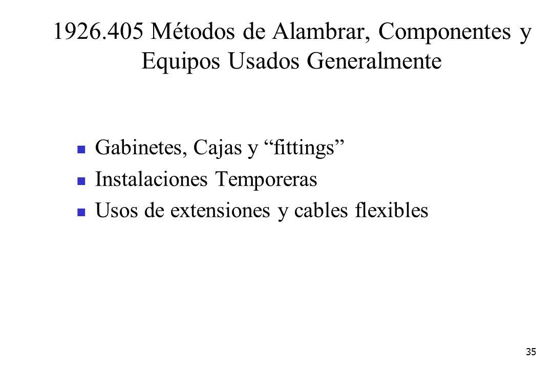 35 1926.405 Métodos de Alambrar, Componentes y Equipos Usados Generalmente Gabinetes, Cajas y fittings Instalaciones Temporeras Usos de extensiones y