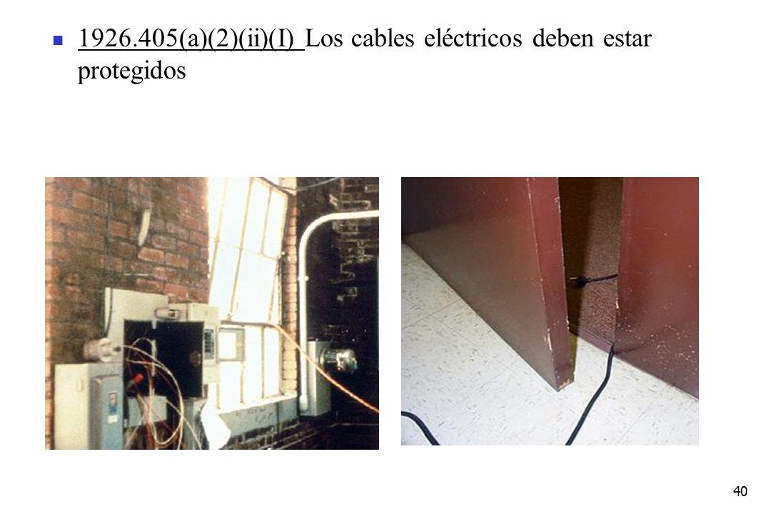 40 1926.405(a)(2)(ii)(I) Los cables eléctricos deben estar protegidos