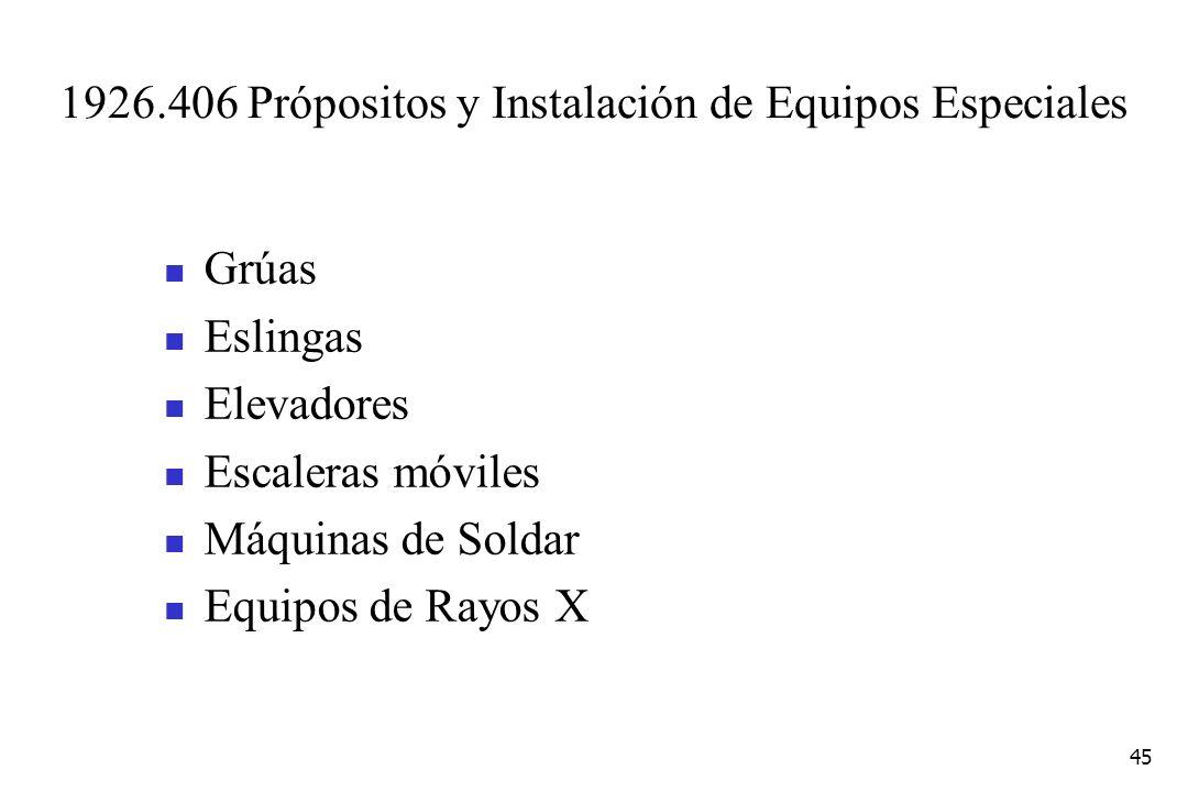 45 1926.406 Própositos y Instalación de Equipos Especiales Grúas Eslingas Elevadores Escaleras móviles Máquinas de Soldar Equipos de Rayos X