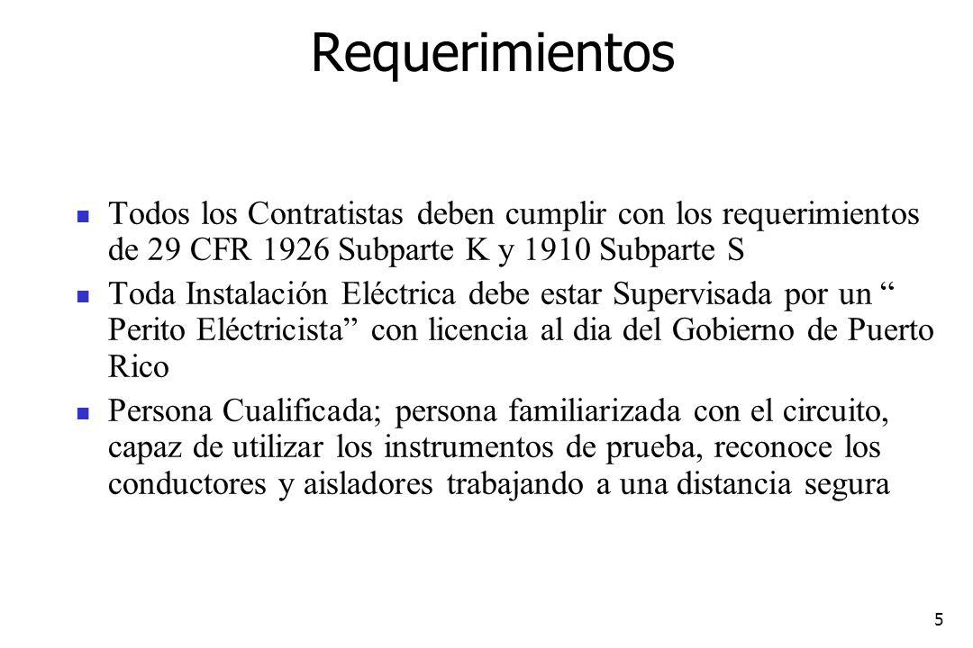 5 Requerimientos Todos los Contratistas deben cumplir con los requerimientos de 29 CFR 1926 Subparte K y 1910 Subparte S Toda Instalación Eléctrica de