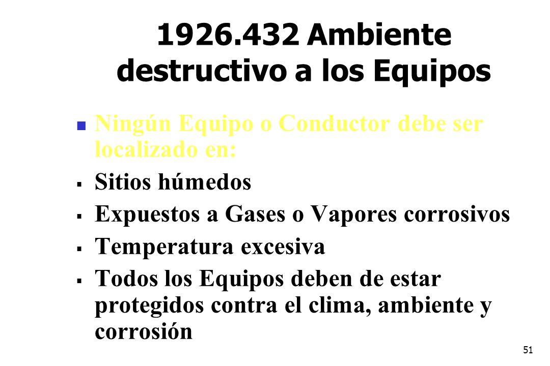 51 1926.432 Ambiente destructivo a los Equipos Ningún Equipo o Conductor debe ser localizado en: Sitios húmedos Expuestos a Gases o Vapores corrosivos