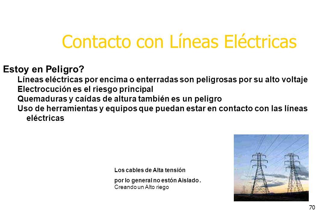 70 Contacto con Líneas Eléctricas Estoy en Peligro? Líneas eléctricas por encima o enterradas son peligrosas por su alto voltaje Electrocución es el r