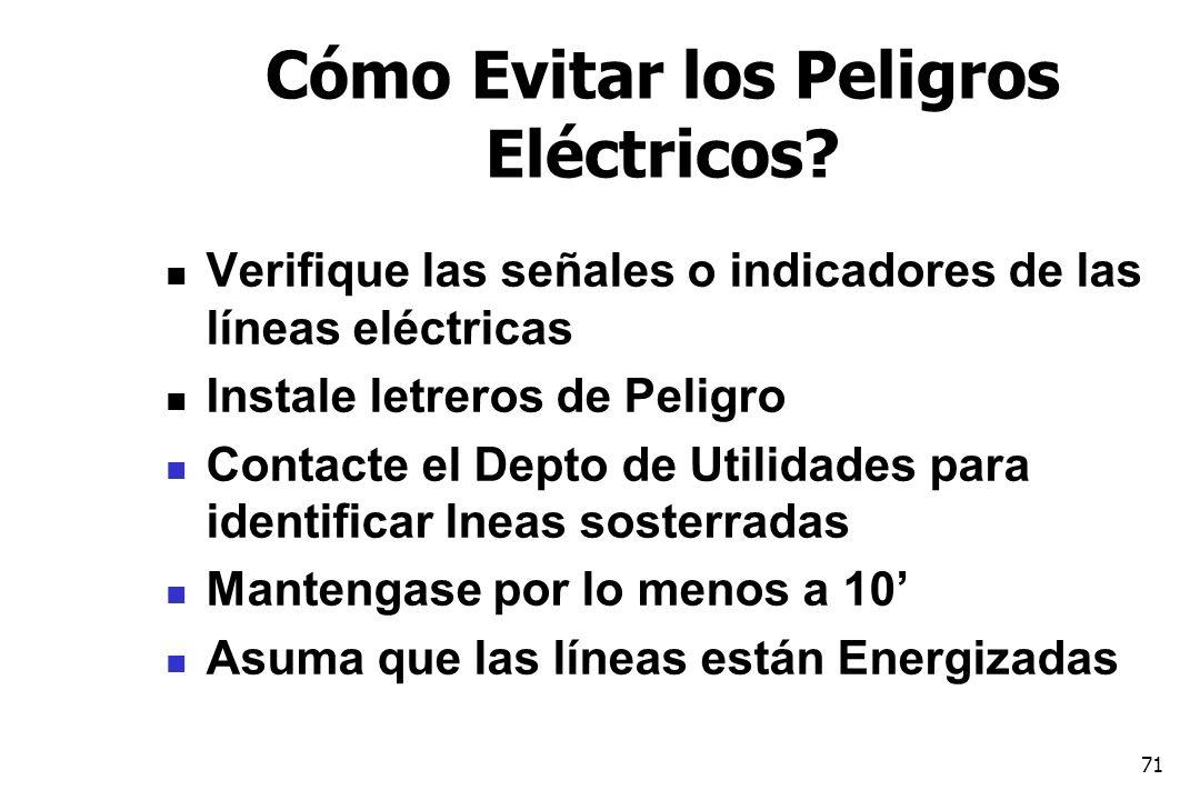 71 Cómo Evitar los Peligros Eléctricos? Verifique las señales o indicadores de las líneas eléctricas Instale letreros de Peligro Contacte el Depto de