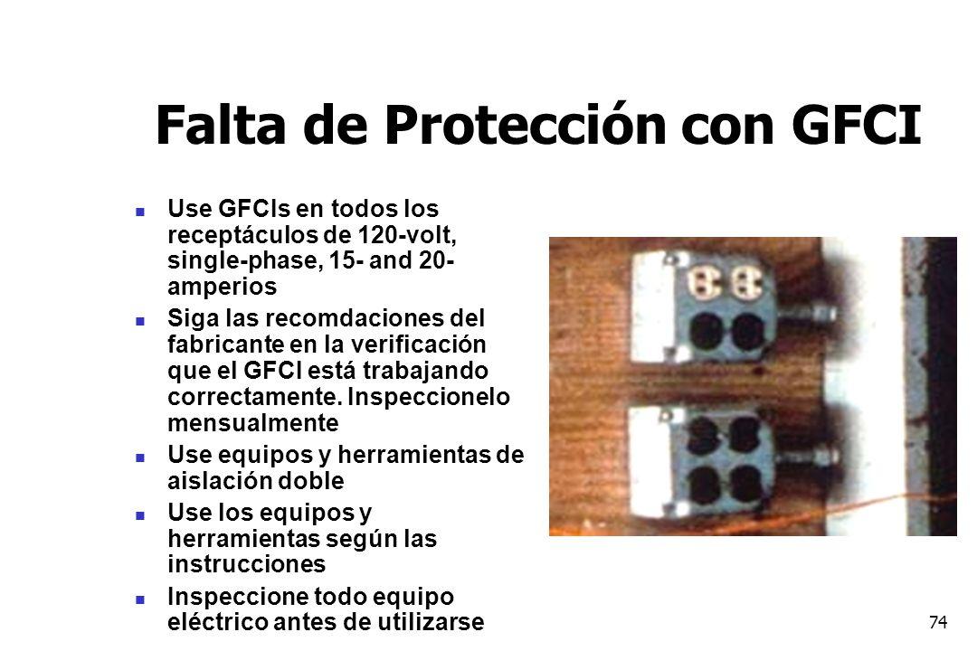 74 Falta de Protección con GFCI Use GFCIs en todos los receptáculos de 120-volt, single-phase, 15- and 20- amperios Siga las recomdaciones del fabrica