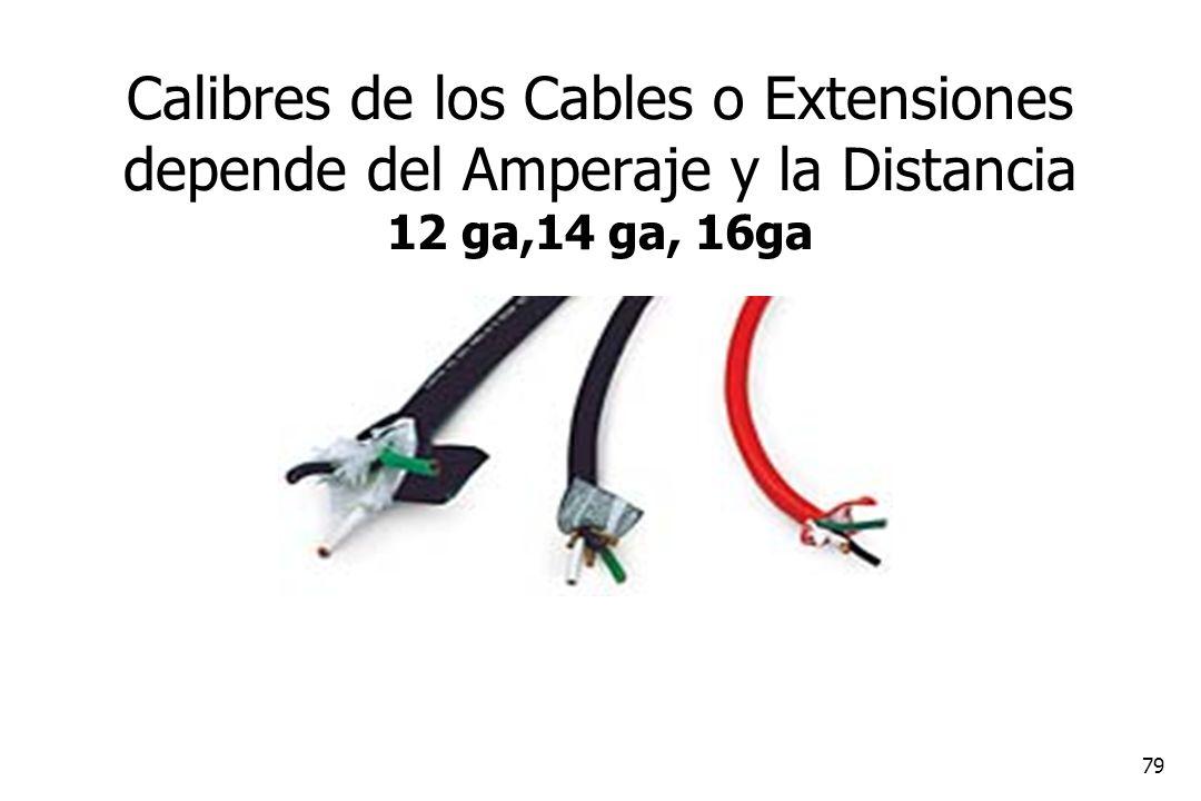 79 Calibres de los Cables o Extensiones depende del Amperaje y la Distancia 12 ga,14 ga, 16ga