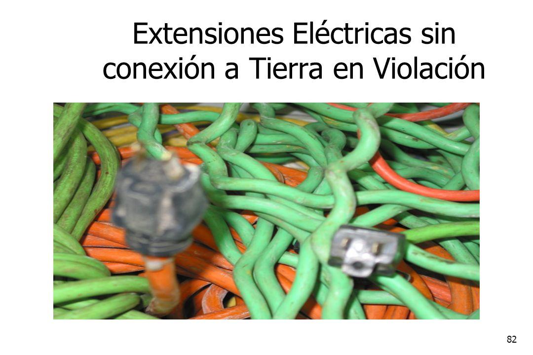 82 Extensiones Eléctricas sin conexión a Tierra en Violación