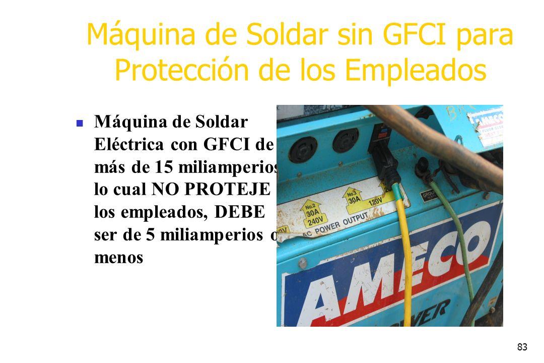 83 Máquina de Soldar sin GFCI para Protección de los Empleados Máquina de Soldar Eléctrica con GFCI de más de 15 miliamperios, lo cual NO PROTEJE a lo
