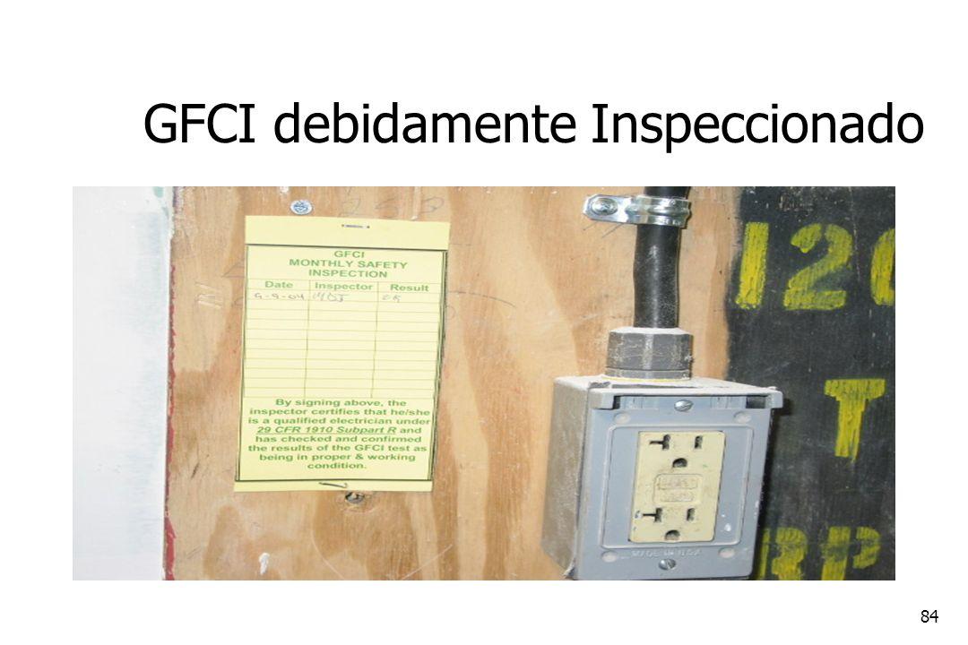 84 GFCI debidamente Inspeccionado