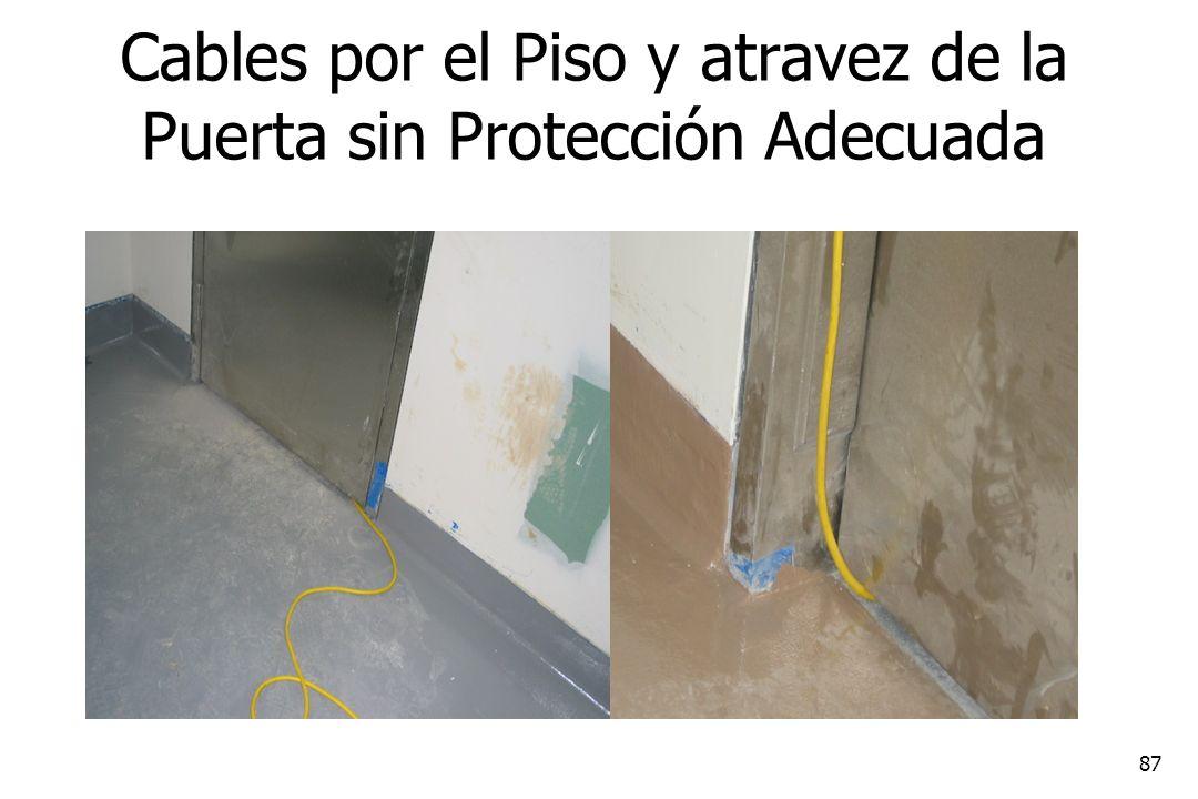 87 Cables por el Piso y atravez de la Puerta sin Protección Adecuada