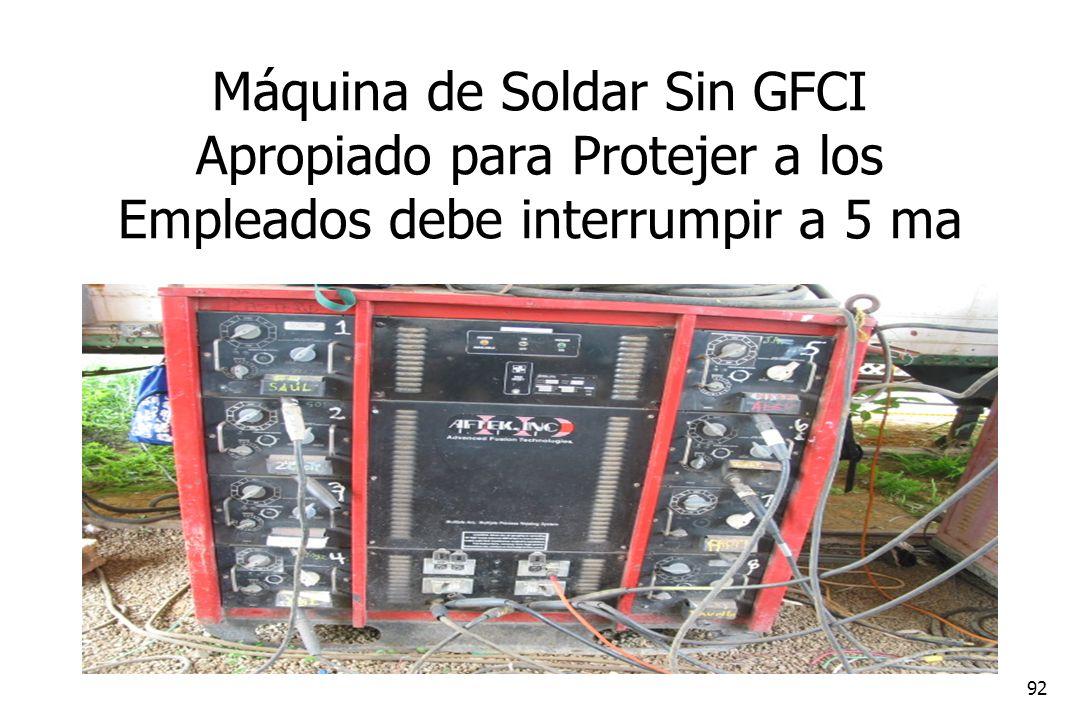 92 Máquina de Soldar Sin GFCI Apropiado para Protejer a los Empleados debe interrumpir a 5 ma