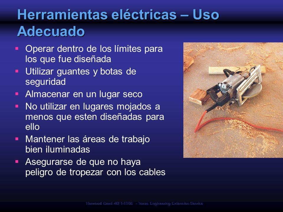 Harwood Grant 46F1-HT06 - Texas Engineering Extension Service Herramientas eléctricas – Uso Adecuado Operar dentro de los límites para los que fue dis