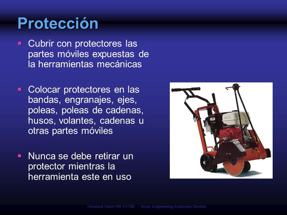 Harwood Grant 46F1-HT06 - Texas Engineering Extension Service Protección Cubrir con protectores las partes móviles expuestas de la herramientas mecáni
