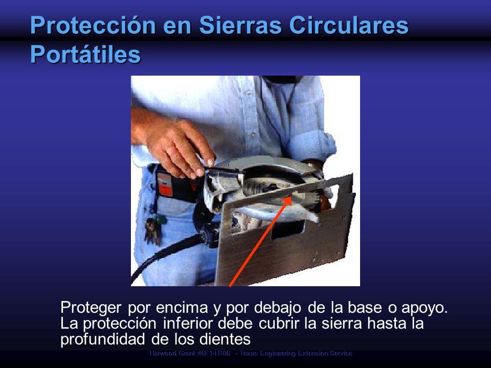 Harwood Grant 46F1-HT06 - Texas Engineering Extension Service Protección en Sierras Circulares Portátiles Proteger por encima y por debajo de la base