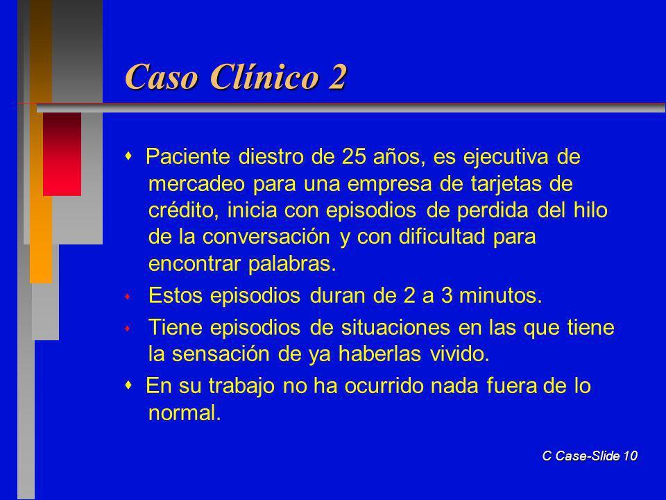 C Case-Slide 10 Caso Clínico 2 Paciente diestro de 25 años, es ejecutiva de mercadeo para una empresa de tarjetas de crédito, inicia con episodios de perdida del hilo de la conversación y con dificultad para encontrar palabras.