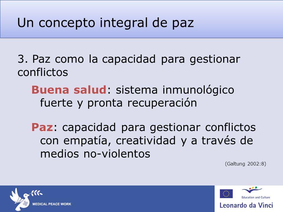 Un concepto integral de paz Buena salud: sistema inmunológico fuerte y pronta recuperación Paz: capacidad para gestionar conflictos con empatía, creat