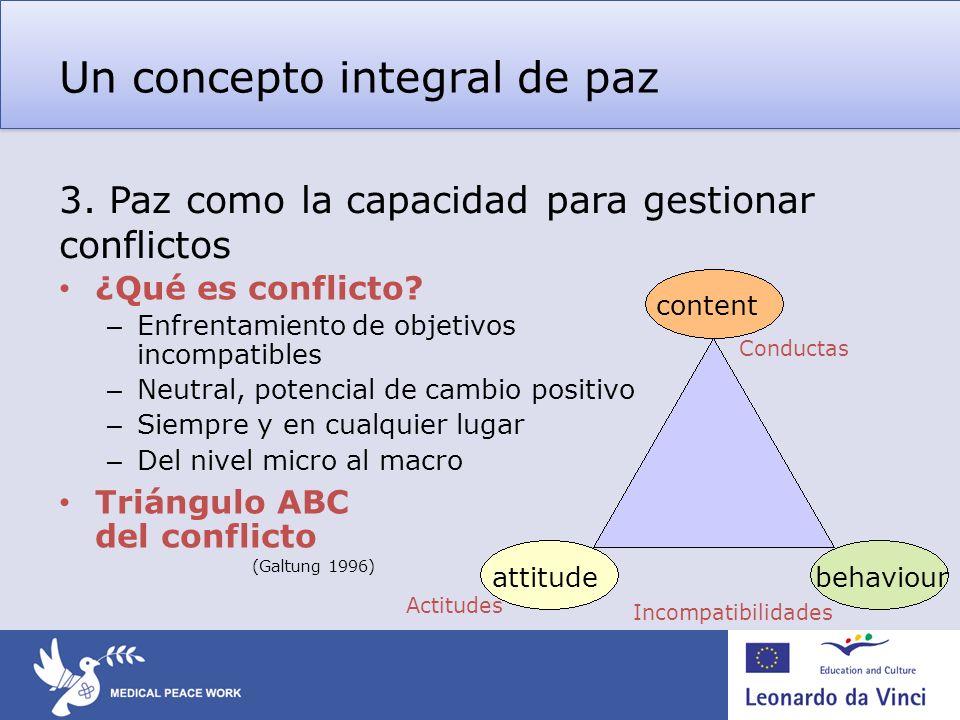 Un concepto integral de paz ¿Qué es conflicto? – Enfrentamiento de objetivos incompatibles – Neutral, potencial de cambio positivo – Siempre y en cual