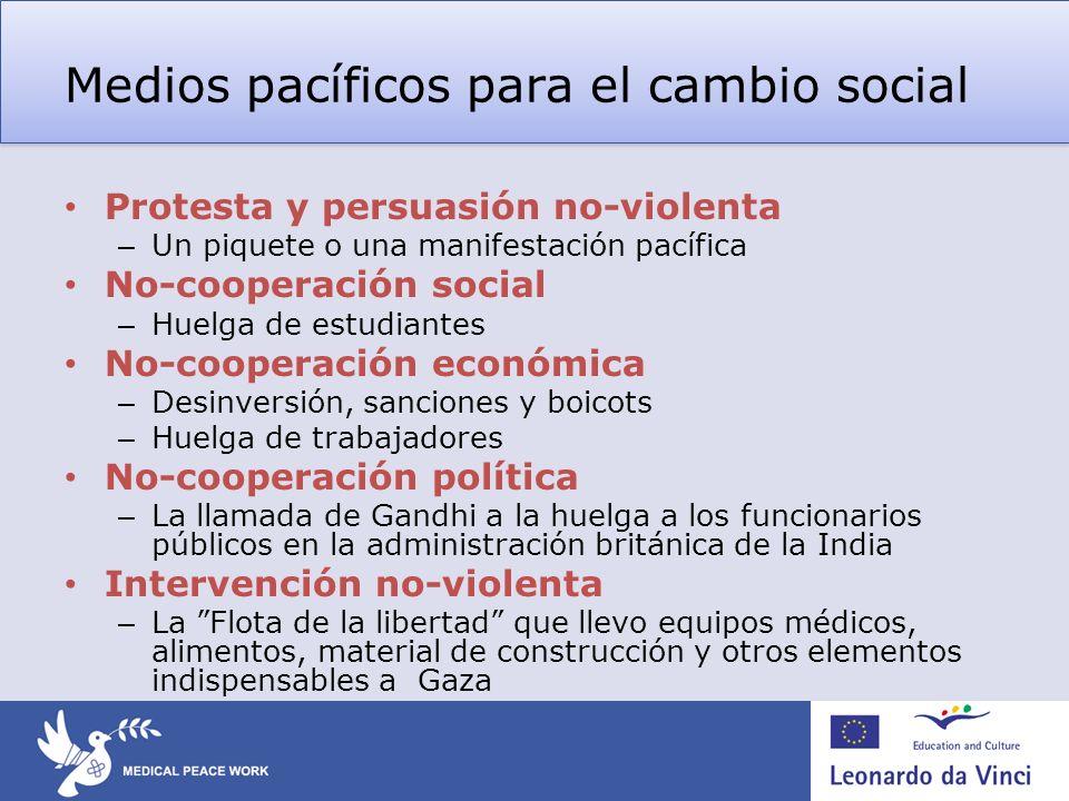 Medios pacíficos para el cambio social Protesta y persuasión no-violenta – Un piquete o una manifestación pacífica No-cooperación social – Huelga de e