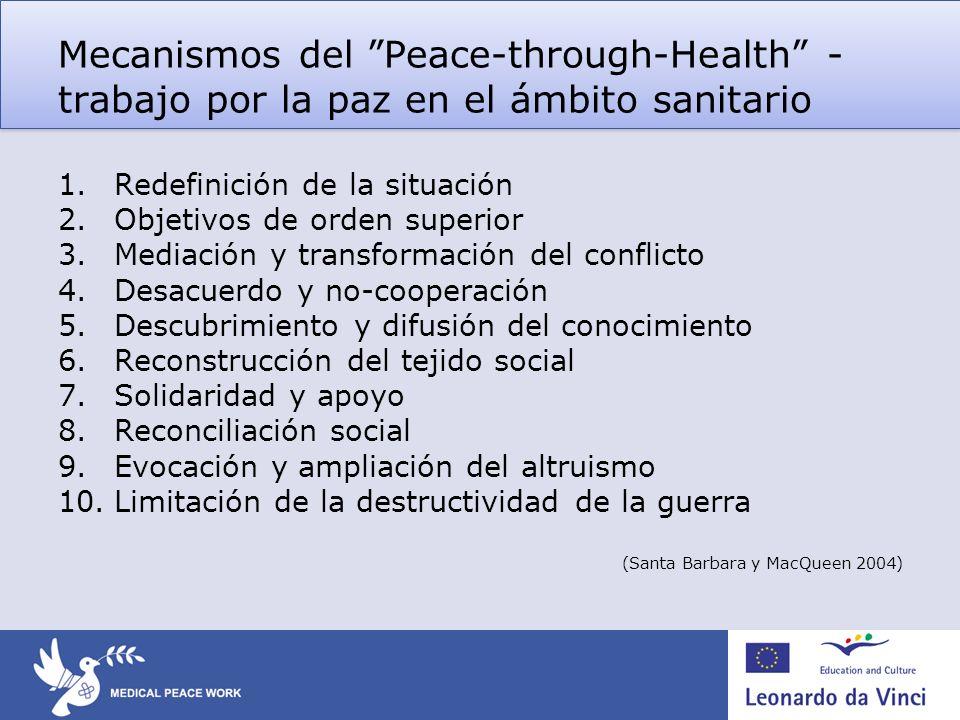 Mecanismos del Peace-through-Health - trabajo por la paz en el ámbito sanitario 1.Redefinición de la situación 2.Objetivos de orden superior 3.Mediaci