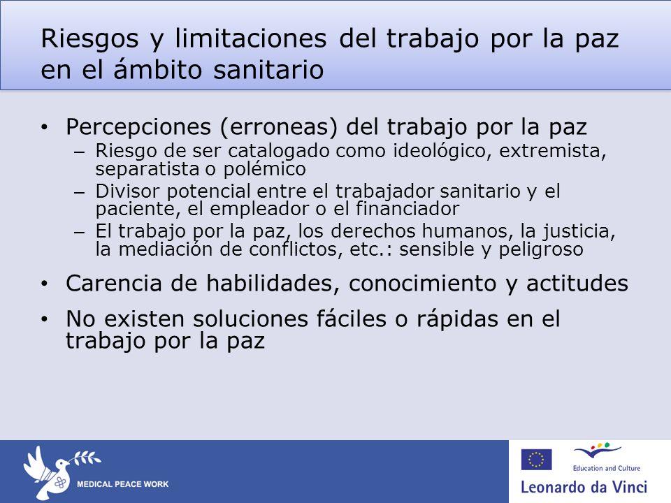 Riesgos y limitaciones del trabajo por la paz en el ámbito sanitario Percepciones (erroneas) del trabajo por la paz – Riesgo de ser catalogado como id