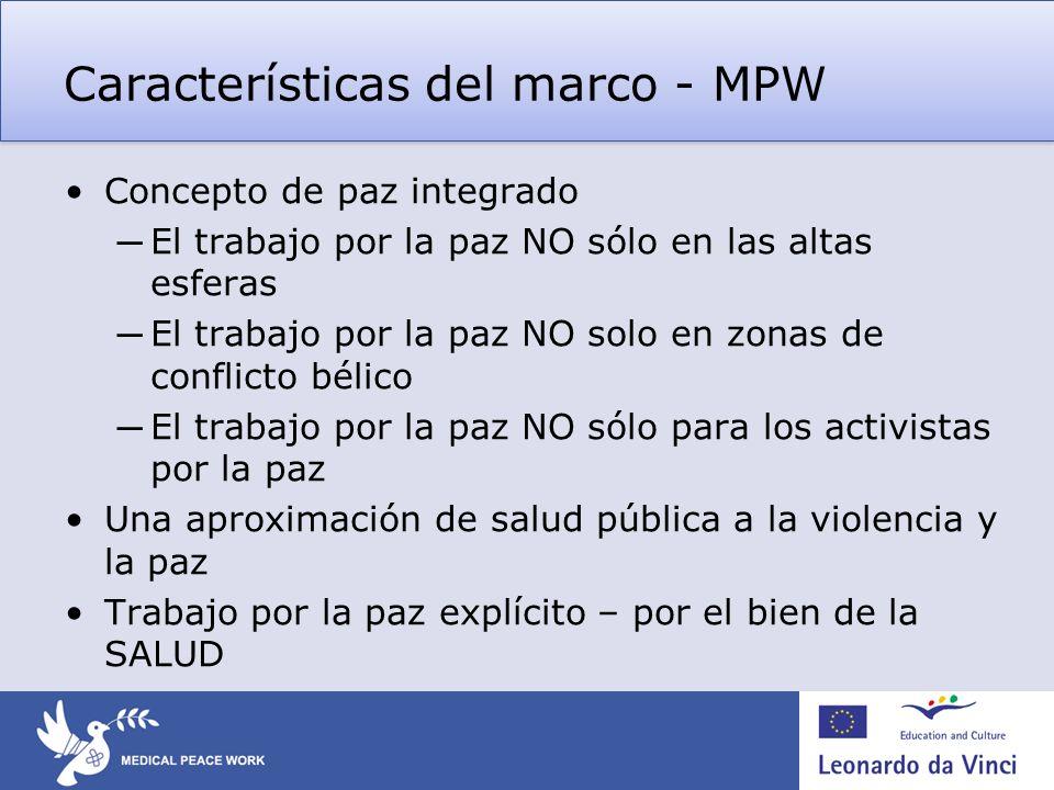 Características del marco - MPW Concepto de paz integrado El trabajo por la paz NO sólo en las altas esferas El trabajo por la paz NO solo en zonas de