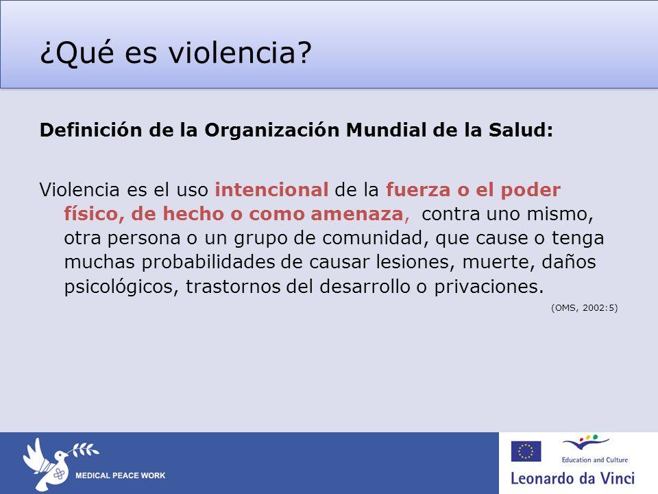 ¿Qué es violencia? Definición de la Organización Mundial de la Salud: Violencia es el uso intencional de la fuerza o el poder físico, de hecho o como