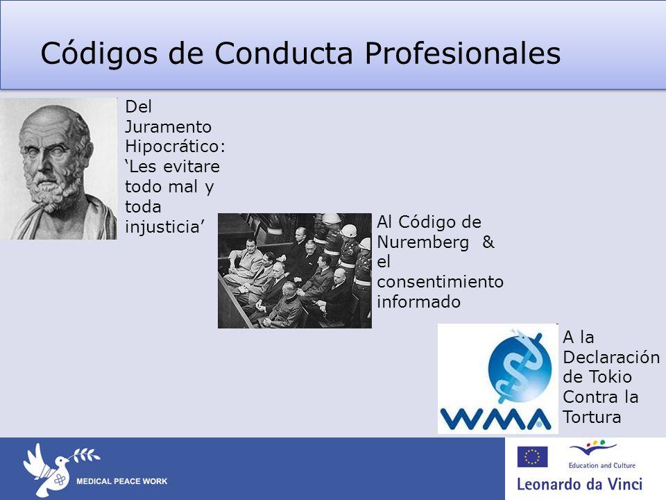 Códigos de Conducta Profesionales Al Código de Nuremberg & el consentimiento informado A la Declaración de Tokio Contra la Tortura Del Juramento Hipoc