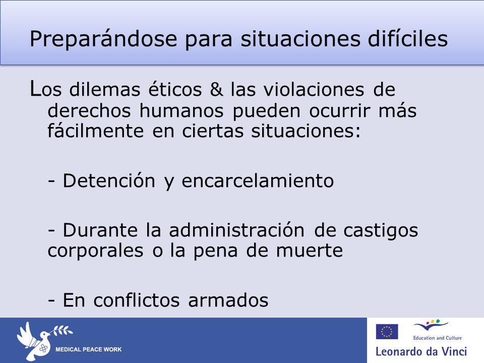 Preparándose para situaciones difíciles L os dilemas éticos & las violaciones de derechos humanos pueden ocurrir más fácilmente en ciertas situaciones
