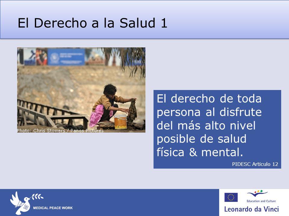 El Derecho a la Salud 1 El derecho de toda persona al disfrute del más alto nivel posible de salud física & mental. PIDESC Artículo 12