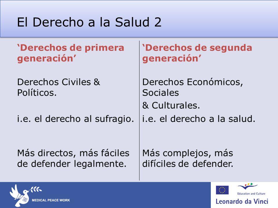 El Derecho a la Salud 2 Derechos de primera generación Derechos de segunda generación Derechos Civiles & Políticos. Derechos Económicos, Sociales & Cu