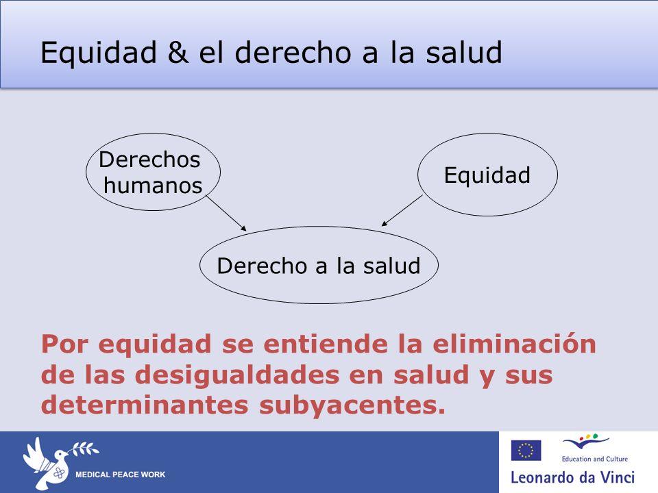 Equidad & el derecho a la salud Derechos humanos Equidad Derecho a la salud Por equidad se entiende la eliminación de las desigualdades en salud y sus