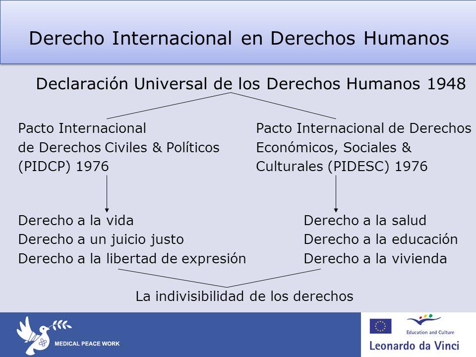 Declaración Universal de los Derechos Humanos 1948 Pacto Internacional Pacto Internacional de Derechos de Derechos Civiles & PolíticosEconómicos, Soci